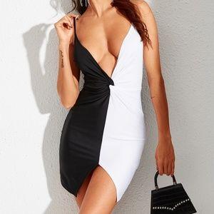 Black/White Twist Spaghetti Strap Mini Dress